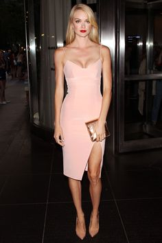 Lindsay Ellingson wearing Nicholas, at the New York premiere of 'A Most Wanted Man'