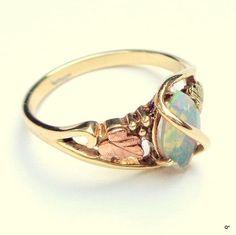 Black Hills Gold Rings, Black Opal Ring, Gold Vintage, 10K Gold, Opal Wedding Ring, Yellow Roses, Rose Gold Rings, Black Gold Ring