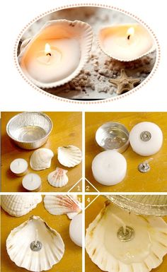 chandelles, diy, coquillage, décoration