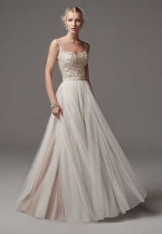 Alita (top) + Ashby (skirt) dress (A-line, Scoop, Straps,  Sleeveless ) from  Sottero and Midgley 2017, as seen on dressfinder.ca. Click for Similar & for Store Locator.