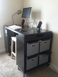 My new standing desk: built from various IKEA parts.