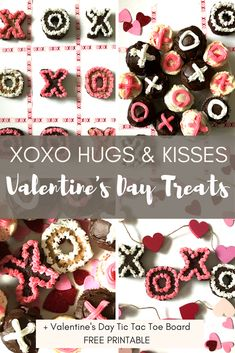 Looking for a Valentine's Day goodie & a symbolic PDA to go with it?  See these easy-to-make XOXO Hugs & Kisses Treat + Tic Tac Toe Board Free Printable! #valentinesday #valentinesdaytreats #xoxo #hugsandkisses #freeprintable #cookiebars #brownies #cupcakes