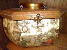 Vintage Decoupage Wooden Purse. $45.00, via Etsy.