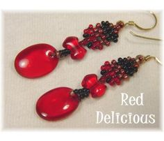 RED DELICIOUS ~ Woven Bead Royal Red Handcrafted Earrings - $29  www.FindMeTreasure.com