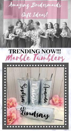 Bridesmaid Gifts, Bridesmaid Gift Ideas, Bridal Party Gift Ideas, Marble Tumblers, Bridesmaid Tumblers, Maid of Honor Gifts, Bride and Groo