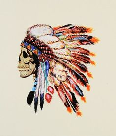 Colored skull indian headdress
