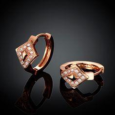 Arlumi 18k Rose Gold plated Clear Crystal Cubic Zircon Diamond Shape Round Stud Earrings E046-B