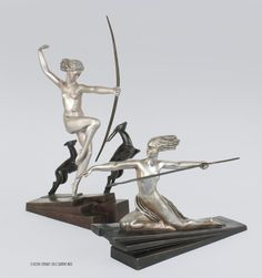#Amazon and #Diana with Fawns #artdeco bronzes by #Bouraine, #1925