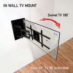 Recessed In Wall TV Wall Mount - Turn 60 inch TVs 90 degrees to the wall See details: Corner Tv Wall Mount, Best Tv Wall Mount, Mount Tv, Tv Mounted In Corner, Tv In Corner, 55 Inch Tv Stand, Tv Wall Brackets, Corner Tv Stands, Swivel Tv Stand