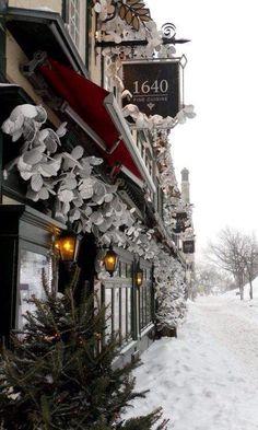 snowy exterior of 1640 bistro, quebec city, canada Winter Snow, Winter Time, Winter Christmas, Xmas, Old Quebec, Quebec City, Montreal Quebec, Snow Scenes, Winter Scenes