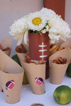 football and flowers centerpiece