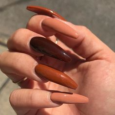 """If you're unfamiliar with nail trends and you hear the words """"coffin nails,"""" what comes to mind? It's not nails with coffins drawn on them. It's long nails with a square tip, and the look has. Aycrlic Nails, Dope Nails, Stiletto Nails, Fun Nails, Manicure, Coffin Nails, Easy Nails, Cute Nails For Fall, Glam Nails"""