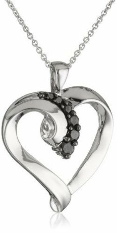 """Sterling Silver Black Diamond Heart Pendant Necklace (1/4 Cttw, I-J Color, I2-I3 Clarity), 18"""" Amazon Curated Collection. $69.99. Made in India. Save 61% Off!"""