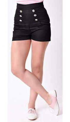 Steady Retro Black High Waisted Sailor Shorts