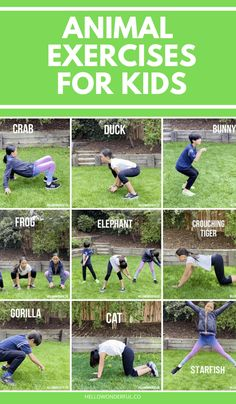 These fun animal exercises for kids are a great way to burn off energy indoors or outdoor! Backyard kids activities and fun way to practice gross motor skills. Gross Motor Activities, Outdoor Activities For Kids, Animal Activities, Gross Motor Skills, Animal Games, Learning Activities, Outdoor Games, Summer Activities, Therapy Activities