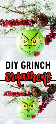 This DIY Grinch Ornament is easy to make and the perfect addition to any Christmas tree decor. Your heart will grow three sizes while making it! #grinch #grinchornament #diygrinchornament #homemadeornaments #DIY #grinchmas