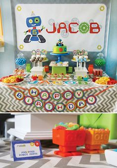Colorful & Creative Robot Birthday Party