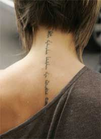 Victoria Beckham Neck Tattoo - Female Celebrity Tattoo Ideas - I am my beloved 's and my beloved is mine.