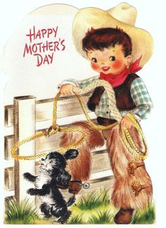 Vintage Greeting Card Cowboy and Puppy by PaperPrizes on Etsy, $2.50
