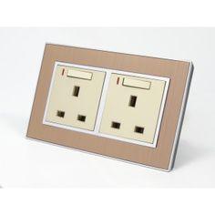 Satin Gold Brushed Metal 13A UK Wall Plug Socket