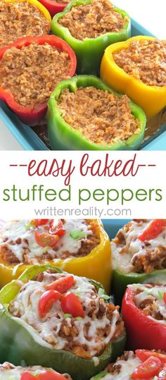 Easy Stuffed Bell Pepper Recipe : Here's a super easy way to bake stuffed bell peppers. It's loaded with ground beef, rice, and lots of cheese. A family favorite meal idea you'll love!