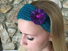 Teal Crochet Headband with a Purple Satin Flower by CalmBeforeDawn