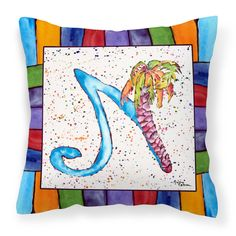 Carolines Treasures Letter N with Palm Tree Outdoor Pillow - 8437-NPW1414