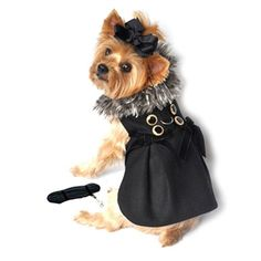 Doggie Design Black Wool w/Silver Minky Fur Harness Jacket with Matching Leash in color Black/Silver