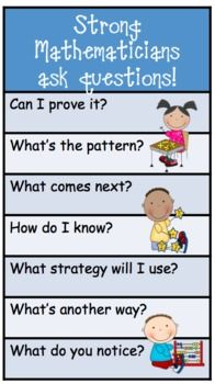 Another pinner writes ~ Math Workshop Question Posters and bookmarks...general questions to ask... for common core math standards...