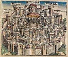 Ideal view of Jerusalem and of Salomon's temple. 1493 woodcut. This is a part of a scan of an historical document: Title: Schedelsche Weltchronik or Nuremberg Chronicle