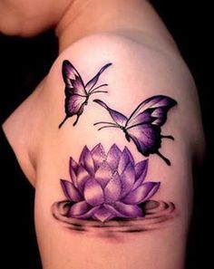 Lotus flower and butterfly tattoo idea lotus tattoo designs Butterfly With Flowers Tattoo, Lotus Flower Tattoo Design, Butterfly Tattoo On Shoulder, Butterfly Tattoo Designs, Lotus Flowers, Tattoo Flowers, Lotus Flower Tattoos, Purple Butterfly Tattoo, Lilies Tattoo