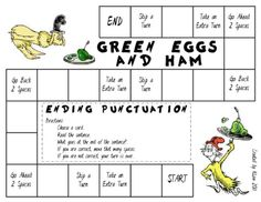 Green Eggs and Ham Punctuation Game – Seuss-themed board game. Players must choose the ending punctuation of sentences on cards. Teaching Language Arts, Teaching Writing, Teaching Tools, Teaching Resources, Teaching Ideas, Writing Lab, Class 2017, Dr Seuss Week, Dr Suess