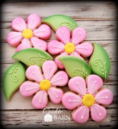 Pink Flower Decorated Cookies