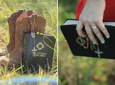 Senior Session - University of Houston graduate - Senior Photography in a field with a guitar, a bible, and boots | Christine Gosch