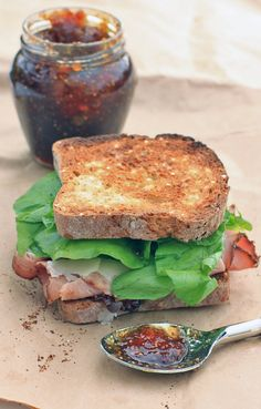 """Ham Sandwich with Manchego Cheese, Fig Preserves, and Arugula. Pjm: Delicious!  Had it with cauliflower soup in my """"soup"""" board. Perfect match. Next time I may try Parmesan cheese instead of Manchego. I love the sharp/salty kick that parm gives."""