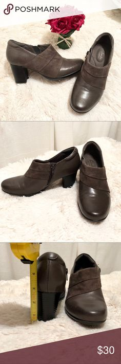 "Clark's ""Bendable"" booties Grey bendable side zip booties. Like new condition Clarks Shoes Ankle Boots & Booties"