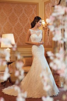 Trumpet lace sweetheart wedding dress with illusion neckline. Gorgeous and romantic.