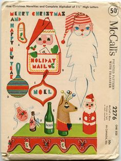 1950s Christmas Craft Pattern McCall's 2276