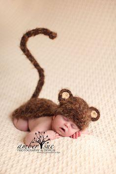 Ready To Ship Monkey Fuzzy Hat  Cape Set Newborn Baby Crochet via Etsy