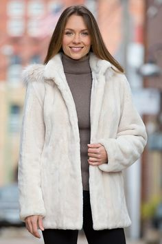 sheared beaver fur coat, love how it flairs out | Keep Me Warm ...
