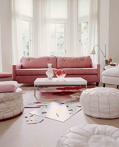 A mod couch in pink linen.  I've found my soul mate.
