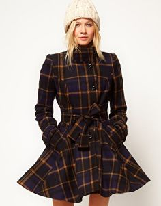 ASOS Check Fit And Flare Coat