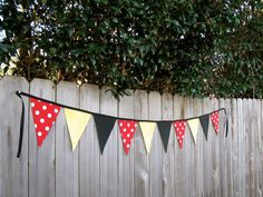 Minnie or Mickey Mouse Fabric Bunting Banner