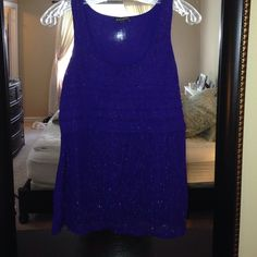 Sparkly Express Tank Size M Great condition! Worn once. Dark Purple. Size S Express Tops Tank Tops