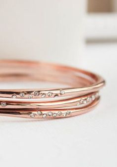 Jewellery. Rose Gold Bangles What if: A rose gold + cream, green and white wedding. #GoldBracelets