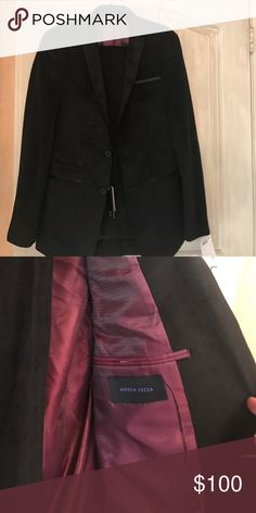 "Men's Black suit Black ""suede"" looking suit. Brand new w/tags. Slim Fit. Jacket 38 L  Pants 31 waist and need to be hemmed. Andrew Fezza Suits & Blazers Suits"