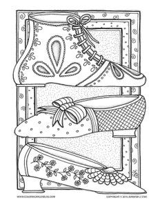 Regency Era Shoes coloring page for adults. Each of these shoes were inspired by actual designs worn during the regency era. Imagine yourself dancing with Mr Darcy or having tea with Jane Austen as you color this detailed coloring page drawn by Jennifer Stay.