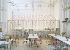 A fun and whimsical cafe design. Royal College of Art Student Union Cafe by Weston Surman & Deane