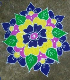 Rangoli Designs Simple Diwali, Simple Flower Rangoli, Indian Rangoli Designs, Simple Flower Design, Rangoli Designs Latest, Rangoli Designs Flower, Free Hand Rangoli Design, Rangoli Border Designs, Small Rangoli Design