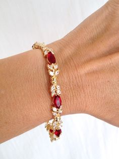 Vintage Sterling Silver Ruby and Diamond Marquise Estate Jewelry Bracelet